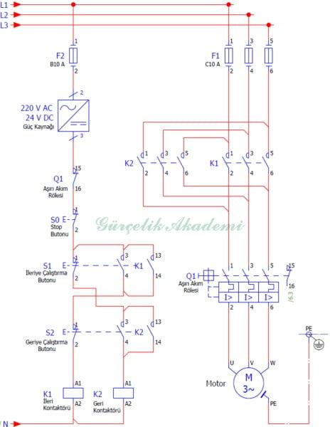 3 Fazlı Asenkron Motorun Buton Emniyetli Devir Yönü Değiştirilmesi