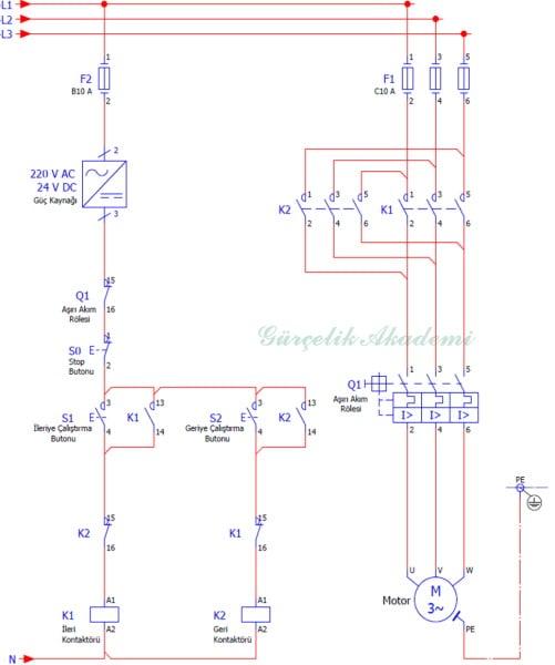 3 Fazlı Asenkron Motorun Elektriksel Kilitlemeli (Kontak Emniyetli) Devir Yönü Değiştirilmesi