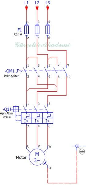 3 Fazlı Asenkron Motorun Enversör Paket Şalter İle Çalıştırılması