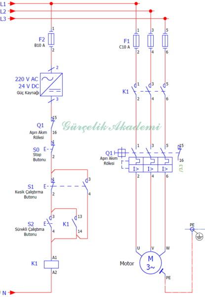 3 Fazlı Asenkron Motorun Kesik Ve Sürekli Çalışması (Basit Devre)