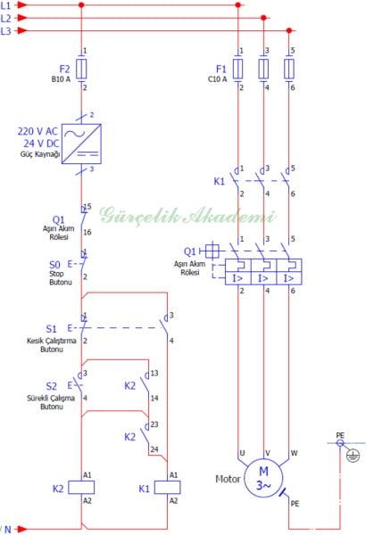 3 Fazlı Asenkron Motorun Kontak Emniyetli Kesik Ve Sürekli Çalışması